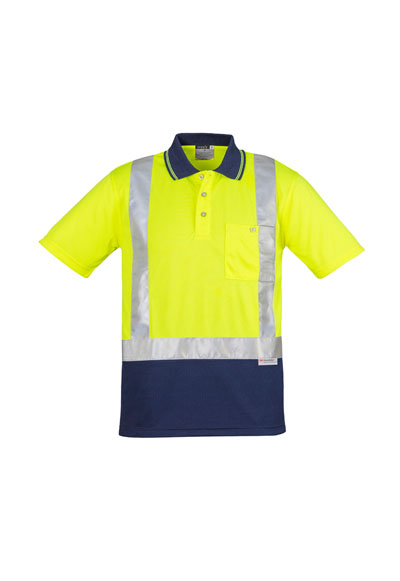 ZH233 Mens Hi Vis Spliced Polo - Short Sleeve Shoulder Taped