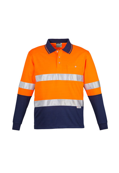 ZH235 Mens Hi Vis Spliced L/S Polo - Hoop Taped