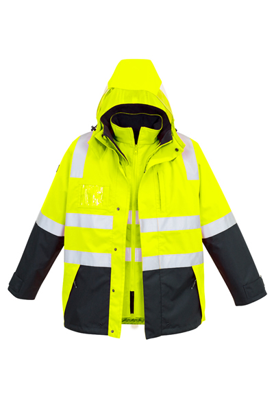ZJ532 Mens Hi Vis 4 in 1 Waterproof Jacket