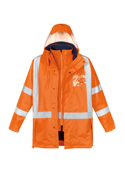 ZJ616 Mens Hi Vis X Back Taped 4 in 1 Waterproof Jacket