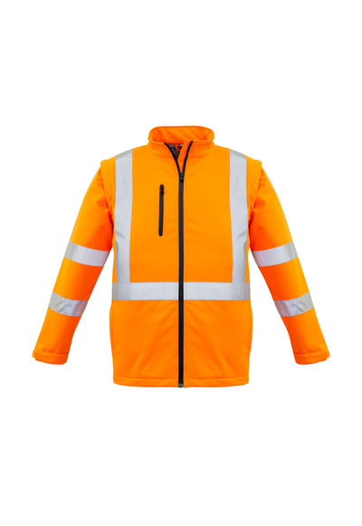 ZJ680 Unisex Hi Vis X Back 2 in 1 Softshell Rain Jacket