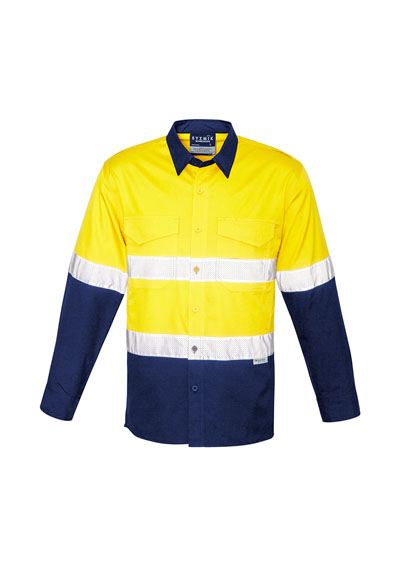 ZW129 Unisex Hi Vis Spliced Ruggered Shirt - Hoop Taped